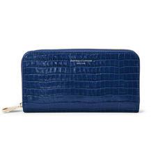 Continental Clutch Zip Wallet in Deep Shine Blue Small Croc