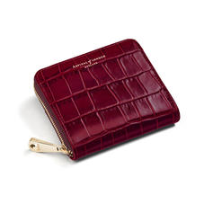 Slim Mini Continental Purse in Deep Shine Bordeaux Croc