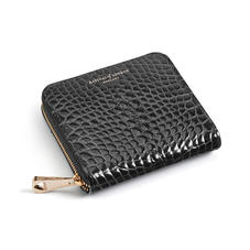 Slim Mini Continental Purse in Black Patent Croc