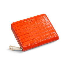 Slim Mini Continental Purse in Deep Shine Orange Small Croc