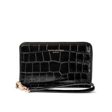 Midi Continental Wallet with Wrist Strap in Deep Shine Black Croc