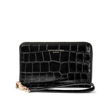 Midi Continental Wallet with Wrist Strap in Deep Shine Black Croc