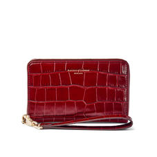 Midi Continental Wallet with Wrist Strap in Deep Shine Bordeaux Croc