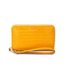 Midi Continental Wallet with Wrist Strap in Deep Shine Bright Mustard Small Croc