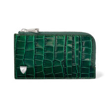 Zipped Card Wallet in Deep Shine British Racing Green Small Croc
