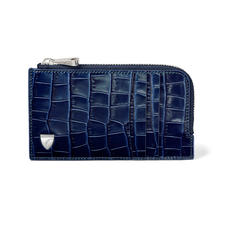 Zipped Card Wallet in Deep Shine Navy Small Croc