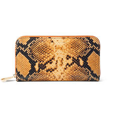 Continental Clutch Zip Wallet in Mustard Snake