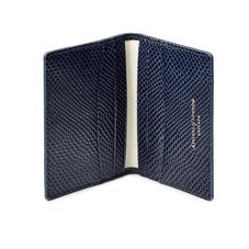 Double Fold Credit Card Holder in Midnight Blue Lizard