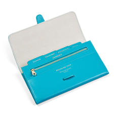 Classic Travel Wallet in Smooth Turquoise