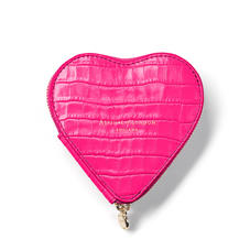 Heart Coin Purse in Deep Shine Penelope Pink Small Croc