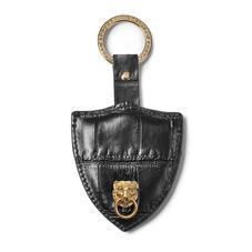 Small Lion & Shield Keyring in Deep Shine Black Soft Croc