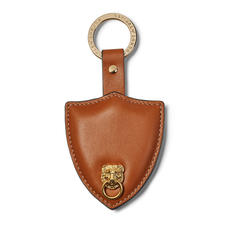 Small Lion & Shield Keyring in Smooth Tan