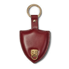 Small Lion & Shield Keyring in Smooth Bordeaux