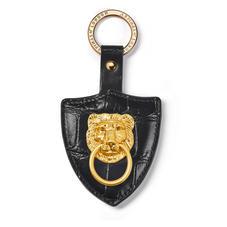 Large Lion & Shield Keyring in Deep Shine Black Soft Croc