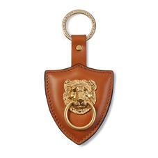 Large Lion & Shield Keyring in Smooth Tan
