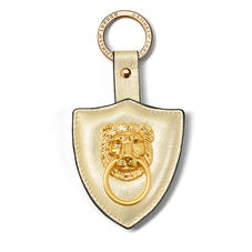 Large Lion & Shield Keyring in Pale Gold Pebble