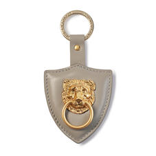 Large Lion & Shield Keyring in Smooth Warm Grey