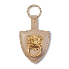 Large Lion & Shield Keyring in Smooth Soft Taupe