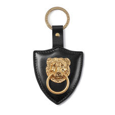 Large Lion & Shield Keyring in Smooth Black