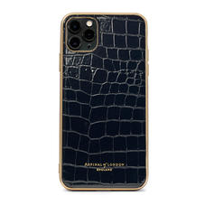iPhone 11 Pro Max Case with Gold Edge in Black Patent Croc