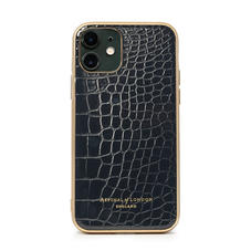 iPhone 11 Case with Gold Edge in Black Patent Croc