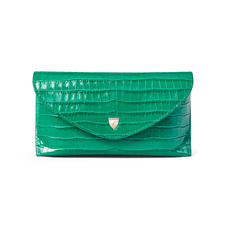 Sunglasses Case in Deep Shine Emerald Green Small Croc