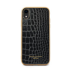 iPhone XR Case with Gold Edge in Black Patent Croc