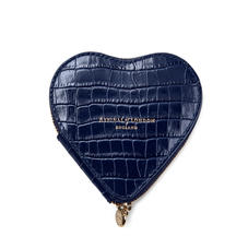Heart Coin Purse in Deep Shine Midnight Blue Small Croc