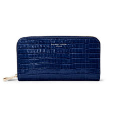 Continental Clutch Zip Wallet in Deep Shine Midnight Blue Small Croc