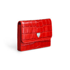 Accordion Credit Card Holder in Deep Shine Red Small Croc