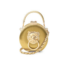 Lion Micro Hat Box in Multi Gold Moire Leather