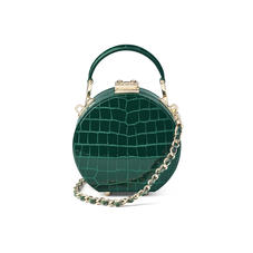 Micro Hat Box in Evergreen Patent Croc