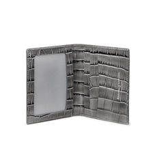 ID & Travel Card Holder in Deep Shine Grey Small Croc