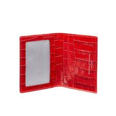 ID & Travel Card Holder in Deep Shine Red Small Croc