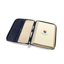 A5 Zipped Padfolio in Navy Saffiano & Cream Suede