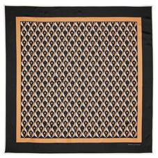 Harlequin Print Silk Scarf in Black & Gold