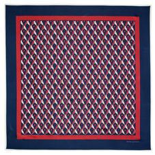 Harlequin Print Silk Scarf in Navy & Bordeaux