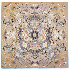 Botanical 'A' Silk Scarf in Soft Taupe