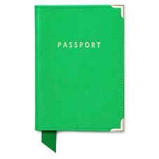 Passport Cover in Bright Green Saffiano & Ice Grey Suede