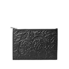 Large Essential Flat Pouch in Black Embossed Flower