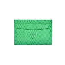 Slim Credit Card Case in Grass Green Lizard