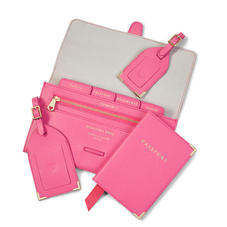 Classic Travel Collection in Bright Pink Saffiano & Ice Grey Suede