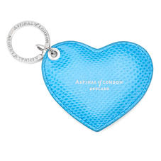 Heart Key Ring in Aquamarine Lizard