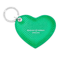 Heart Key Ring in Grass Green Lizard