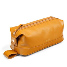 Mens Classic Washbag in Mustard Saffiano