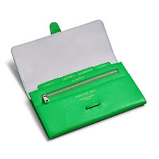 Classic Travel Wallet in Bright Green Saffiano & Ice Grey Suede