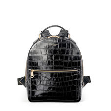 London Backpack in Deep Shine Black Soft Croc