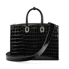 Madison Tote in Deep Shine Black Croc