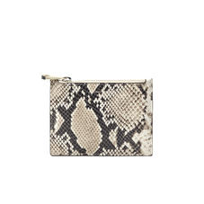 Small Essential Flat Pouch in Embossed Natural Python Print