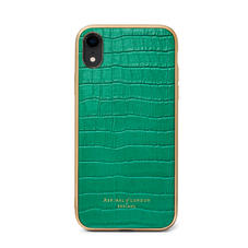 iPhone XR Case with Gold Edge in Deep Shine Emerald Green Small Croc